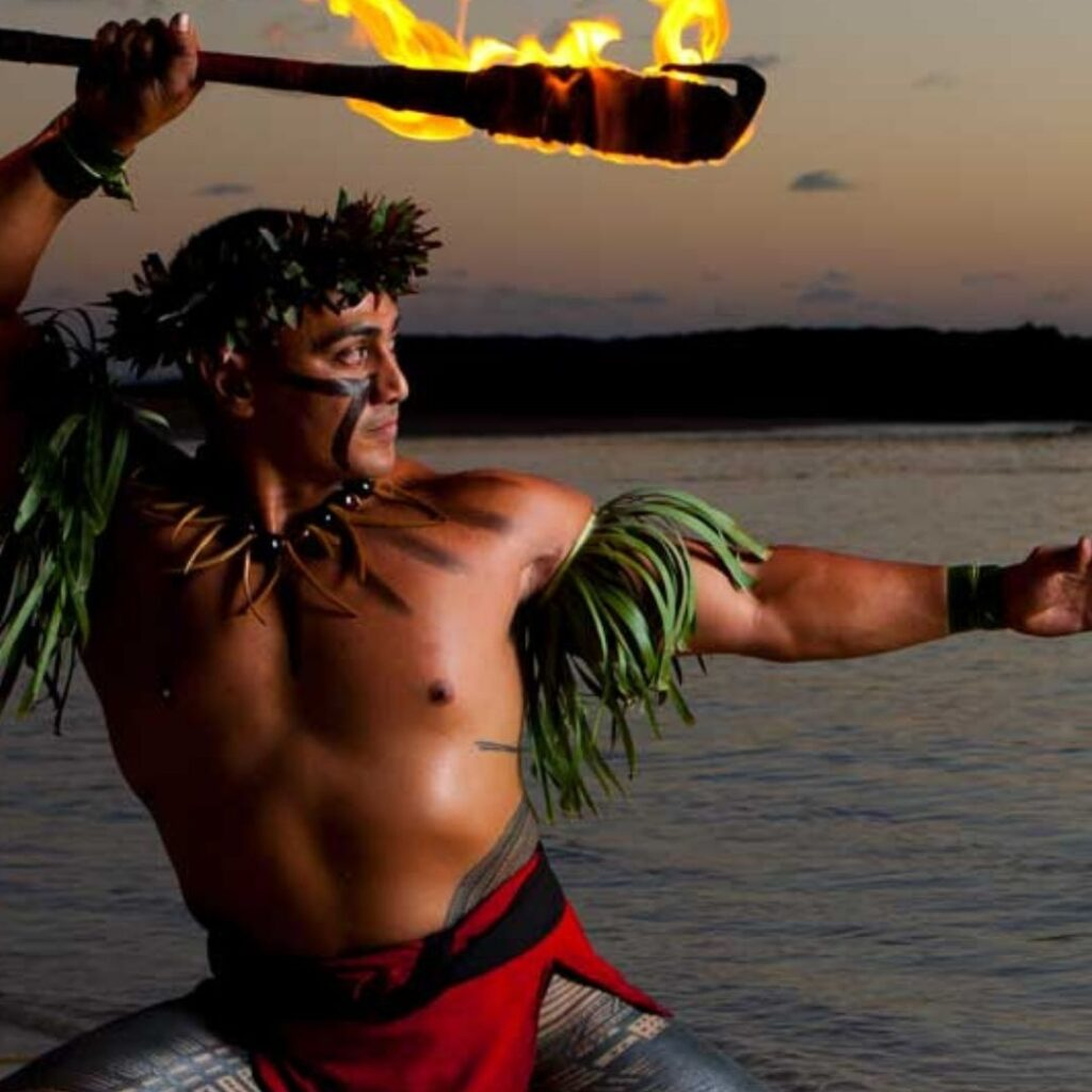 Paradise Cove Fire dancer at one of the best luaus in Hawaii